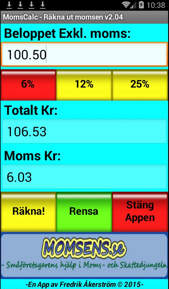 momsräknare för Android telefoner och mobiler men även läsplattor baserade på Android.