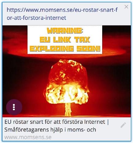 EU ska snart till att rösta om EUCD-lagen som kommer förinta Internet som vi känner till det idag. EU kommer med den nya copyrightlagen försämra villkoren för småföretagare och bloggare på internet. Länkskatten och Uppladdningsfiltret kommer orsaka domino-skade-effekter på internet och det största förlorarna är bloggar och småföretagare som försörjer sig på internet baserad handel.