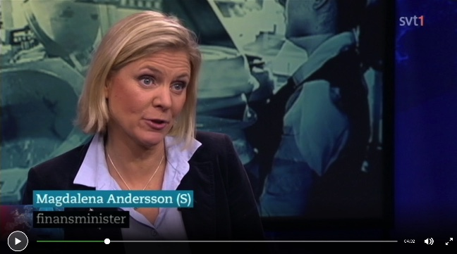 Magdalena Andersson varna för Bulgarer och Rumäner som kommer hit och tar jobben från svenskarna! SVTplay 2015-12-21: http://www.svtplay.se/video/5192758/rapport/rapport-21-12-23-30