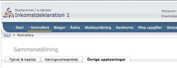 Var redovisar jag inkomster från utlandet i deklarationen på Skatteverkets webbplats?
