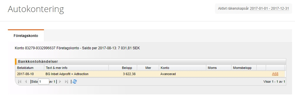 Gemsam verifikation av kombinerad insättning från bankgirot.