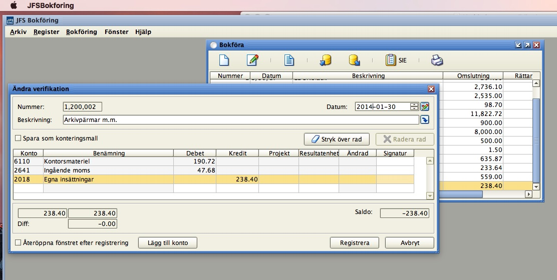 JFS är ett gratis bokföringsprogram som du använder offline och finns både för Mac, Windows och Linux,