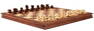 Riktigt schackspel med trä pjäser och schackbräde. Spela schack på riktigt
