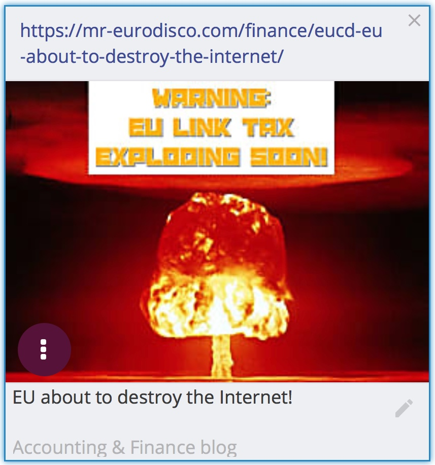 The EU will soon vote on the EUCD-law that will destroy the Internet as we know it today. The EU will deteriorate the foundation for small businesses and bloggers on the internet. The link tax and the upload filter will cause domino-damage-effects on the internet and the most prominent losers are blogs and small business owners who make a living on internet-based trading.