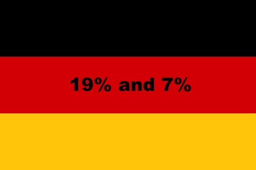 German VAT rates. Germany has two VAT rates. The standard level being 19% and the reduced sales tax rate on 7%.