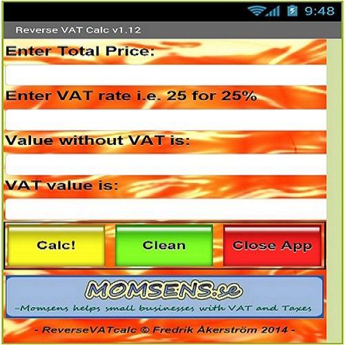 VAT calc backwards