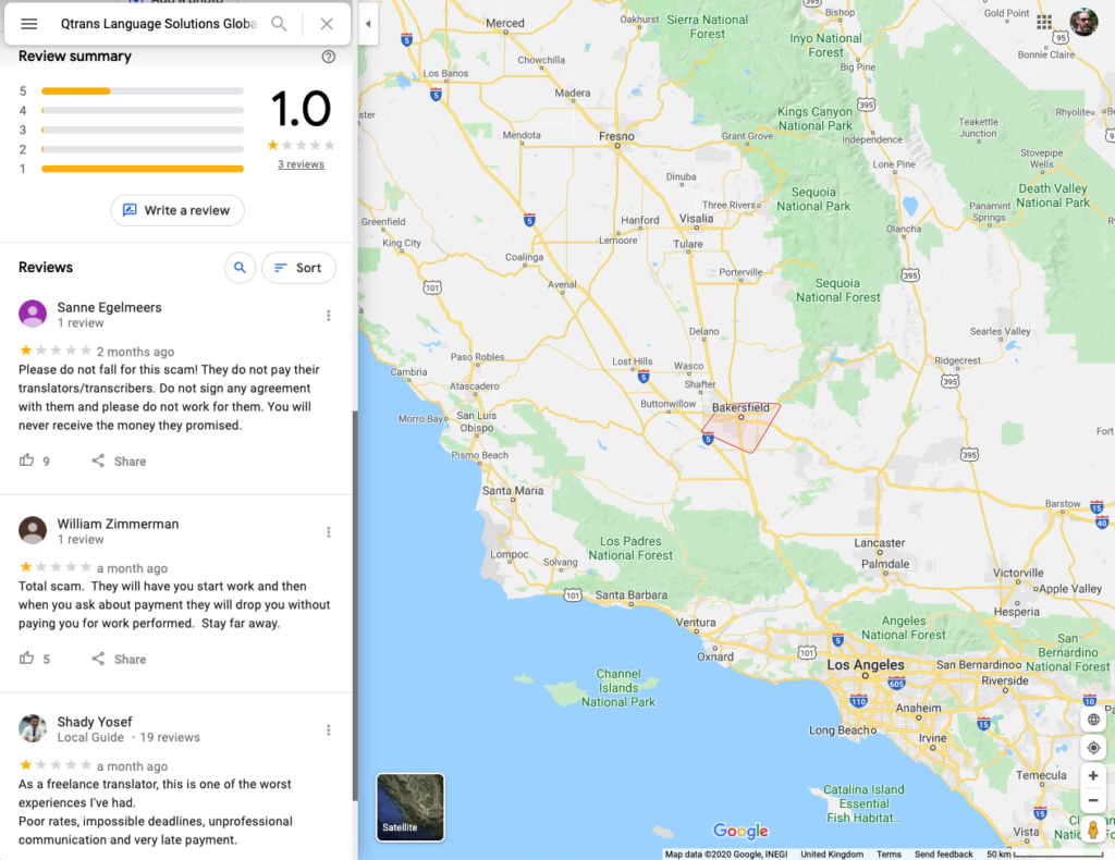 Qtrans scam reviews on Google Maps