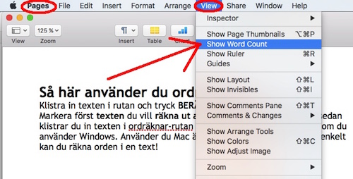Hur ser man antalet ord i en text i programmet Pages på Macbook?